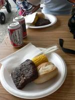 ステーキ$10、ビール$2